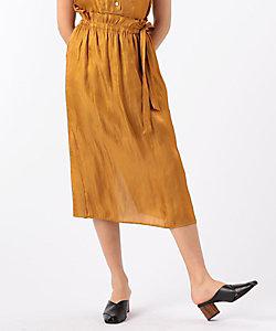 シャイニーツイルポリエステル ウェストリボンIラインスカート