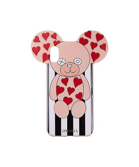 Teddy with Hearts Stripes Black and