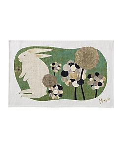 morita MiW/モリタミウ ウサギティータオル「草叢で」/グリーン
