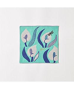 3重ガーゼハンカチ 『花とカゲロウ』/グリーン