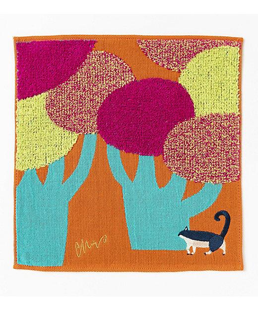 <morita MiW/モリタミウ> ガーゼパイルハンカチ 『ネコと大きな街路樹』/オレンジ【三越伊勢丹/公式】