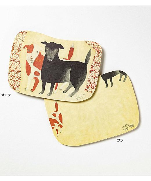<morita MiW/モリタミウ> MiWポストカード イヌ「黒犬チョークと赤斑犬のテン」【三越伊勢丹/公式】