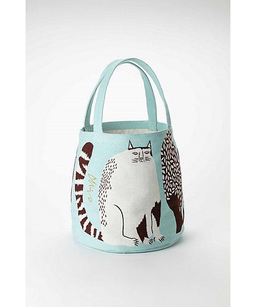 トートバッグ『公園の大きな樹のネコたち』ネコ/ライトブルー