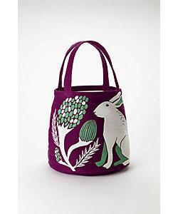 morita MiW/モリタミウ トートバッグ『平原の花のウサギたち』ウサギ/パープル