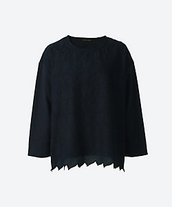 green nout(Women/大きいサイズ)/グリーンノート 40/2天竺 ローンリーフ刺繍
