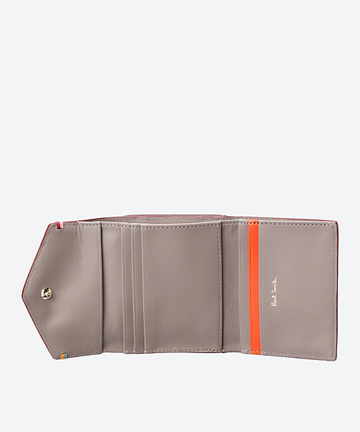 ハイライトステッチ 三つ折り口金付き財布