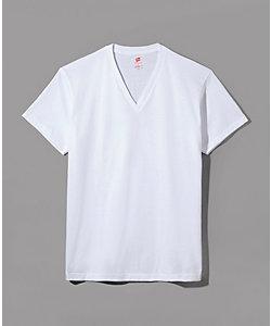Hanes(Men)/ヘインズ ヘインズプレミアム ジャパンフィット/半袖VネックTシャツ/綿100%/年間素材(HM1‐F002)