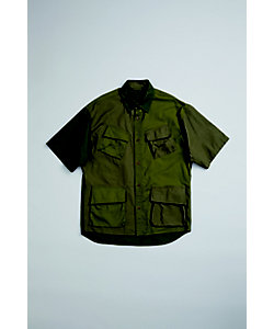 Nigel Cabourn(Men)/ナイジェル・ケーボン デザートアーミーシャツ DESERT ARMY SHIRT SHORT SLEEVE‐MIX FABRIC 80400011004