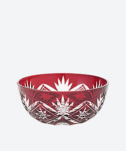 清水硝子/シミズガラス 丸小鉢 「笹の星」赤