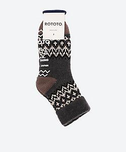 ROTOTO(Men)/ロトト ウール混素材 ルームソックス