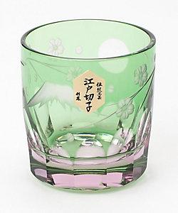 硝子工房彩鳳/ガラスコウボウサイホウ 富士桜文様 ぐい呑 ピンクミドリ