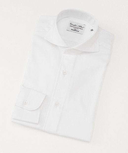 <FAIRFAX(Men)/フェアファクス> カッタウェイカラー/ヘリンボーン柄/長袖ドレスシャツ ホワイト【三越伊勢丹/公式】