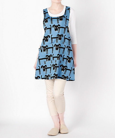 三越・伊勢丹オンラインストア<アツコマタノ> 黒い犬柄 フリークロスタイプ(28465) ブルー 【三越・伊勢丹/公式】