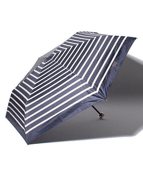 三越・伊勢丹/公式 【晴雨兼用】ボーダー柄折り畳み傘 ネービーブルー