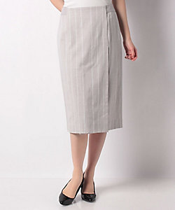 LAPINE BLANCHE(Women)/ラピーヌ ブランシュ インポート素材 コットンリネンストライプスカート