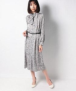 LAPINE BLANCHE(Women)/ラピーヌ ブランシュ 【洗える】アニマル幾何柄 サテンプリントドレス