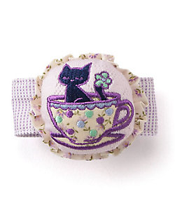 ANNA SUI MINI(Baby&Kids)/アナスイ・ミニ ティーカップ ネコ刺しゅう クルミボタン リストラトル