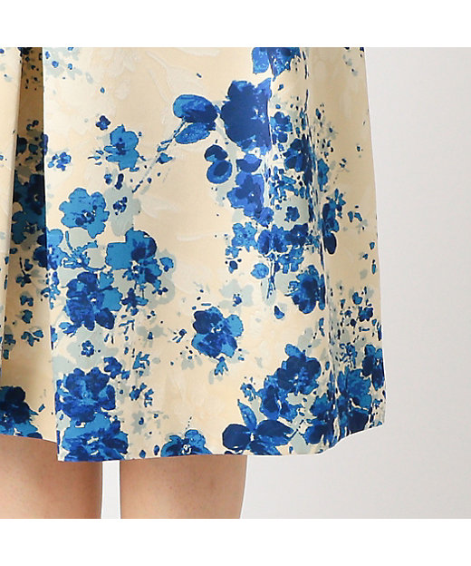 フラワーサテンプリントスカート