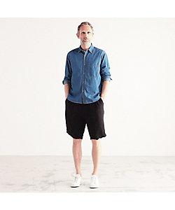 TOMORROWLAND (Men)/トゥモローランド コットンリネンデニム ワイドカラーシャツ CANCLINI