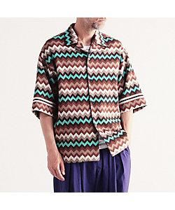 TOMORROWLAND (Men)/トゥモローランド コットンジャカードニット ショートスリーブオープンカラーシャツ