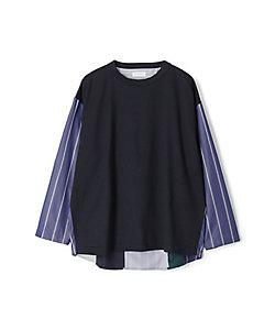 TOMORROWLAND (Men)/トゥモローランド スウィッチング ストライプロングスリーブTシャツ