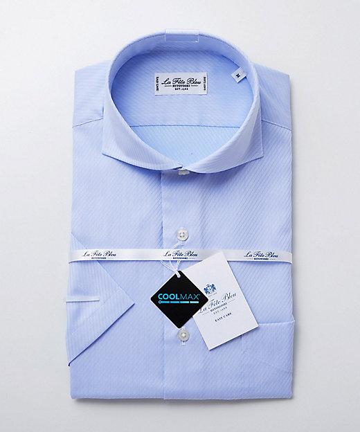 <LA FETE BLEU(Men)/ラフェッタブルー> カッタウェイ半袖ドレスシャツ ブルー【三越伊勢丹/公式】