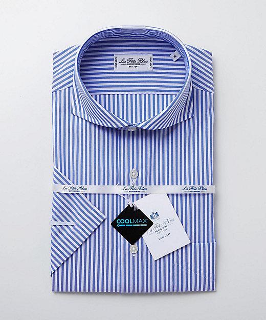 <LA FETE BLEU(Men)/ラフェッタブルー> カッタウェイ半袖ドレスシャツ ネービーブルー【三越伊勢丹/公式】