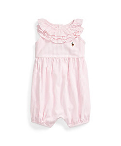 RALPH LAUREN BABY(Baby&Kids)/ポロ ラルフローレン チルドレン(ベビー) ストライプド コットン バブル ショートオール