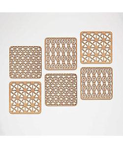 LTshop/エルティーショップ ウッドコースター アソートメントセット Geometric Pattern