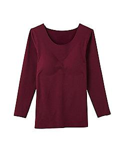 完全無縫製 秋冬素材 綿混起毛 8分袖インナー(パット付き)