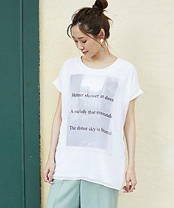 【WEB別注】シフォン重ねのロゴプリントTシャツ
