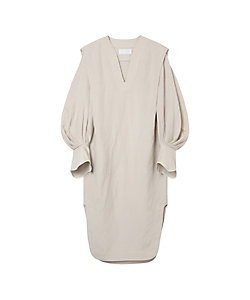 Mame Kurogouchi(Women)/マメ クロゴウチ Volumed Sleeve LINEN Rayon V-Neck Dress