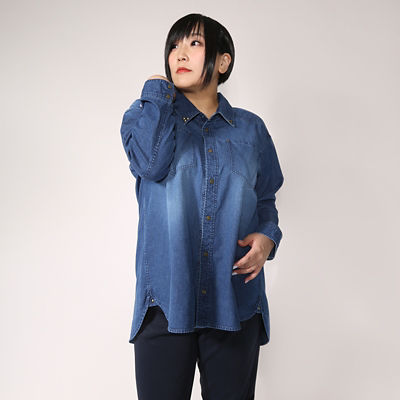 【SALE(伊勢丹)】<VARAL DE MODA+> 大きいサイズ ウエポンデニム シャツ(V72-2003)(クローバー) ブルー(60)<三越・伊勢丹/公式>