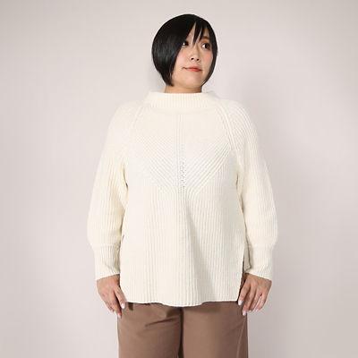 【SALE(伊勢丹)】<VARAL DE MODA+> 大きいサイズ 5G片畔ウール セーター(V72-2017)(クローバー) アイボリー(14)<三越・伊勢丹/公式>