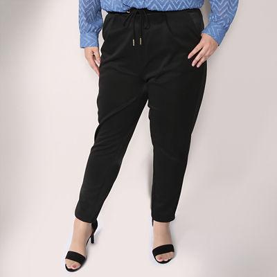 【SALE(伊勢丹)】<VARAL DE MODA+> 大きいサイズ ジャージーxサテン パンツ(V72-2005)(クローバープラス) ブラック(90)<三越・伊勢丹/公式>